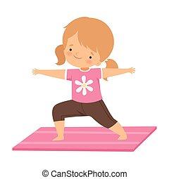 ioga, pose, criança, ativo, ilustração, adorável, cute, saudável, vetorial, menina, estilo vida, herói, ficar, prática