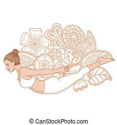 ioga, pose., gafanhoto, silhouette., salabhasana, mulheres