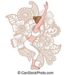 ioga, pose., utkatasana., silhouette., cadeira, mulheres