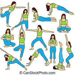ioga, poses, cobrança, -, colorido, vetorial, ilustração