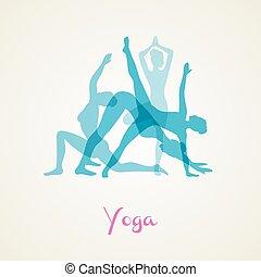 ioga, poses, jogo, silueta