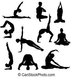 ioga, poses, silhuetas