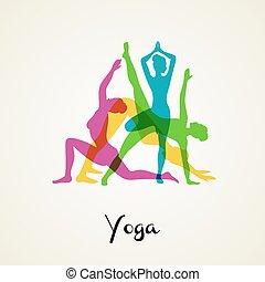 ioga, poses, silueta