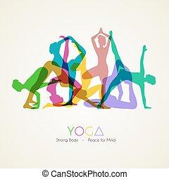 ioga, poses, silueta, mulher