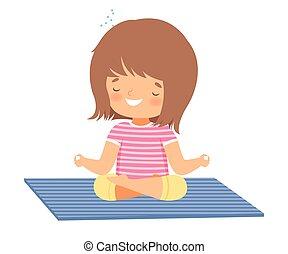 ioga, posição, criança, meditar, ativo, ilustração, adorável, cute, saudável, vetorial, menina, estilo vida, loto, prática