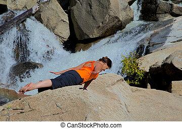 ioga, prática, ao ar livre