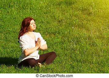 ioga, prática, em, ao ar livre