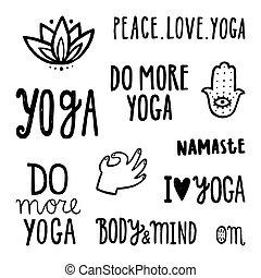 ioga, quotes., jogo, de, mão, desenhado, lettering.