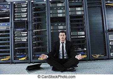 ioga, rede, negócio, prática, servidor, homem, sala