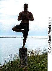 ioga, silueta, toco, homem, natureza