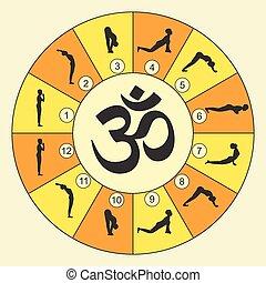 ioga, sol, ilustração, vetorial, surya, saudação, namaskara, exercício