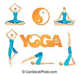 ioga, symbols.eps, ícones