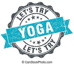 ioga, vindima, turquesa, selo, isolado, branco