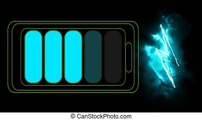 Ion lithium battery fast charger and thunder symbol on black screen