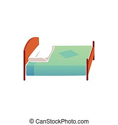 Ion of children bed with pillow and blanket, flat vector illustration isolated.