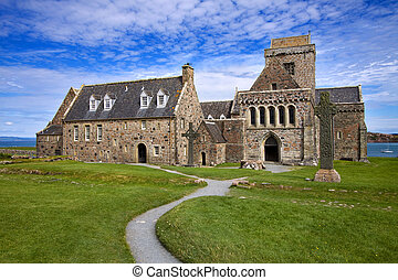 Iona Abbey on the Isle of Iona in the Inner Hebrides on the...