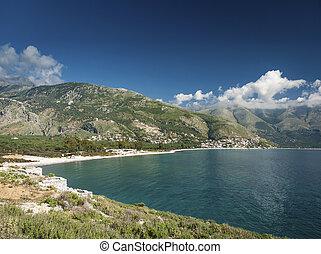 ionian tenger, lesiklik, közül, déli, albánia, képben látható, napos nap