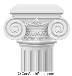 Ionic column - Classic ionic column. Illustration on white...