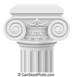 Ionic column - Classic ionic column. Illustration on white...