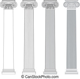 Ionic column in different styles. An outline, a fill color outline and basic shades drawing.