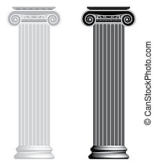 Ionic column isolated on white background. Bitmap version