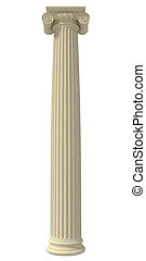 ionic column isolated on white background - rendering