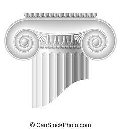 Ionic column. Vector illustration. Detailed portrayal....