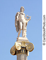 Ionic column with a statue of Apollo