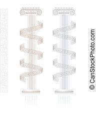 Ionic Column with Greek key pattern