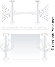 Ionic Column with Greek key pattern. Vector banner set.