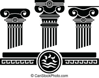 ionic columns and pattern. stencil