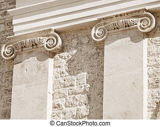 Ionic columns of the Giovinazzo church. Apulia.