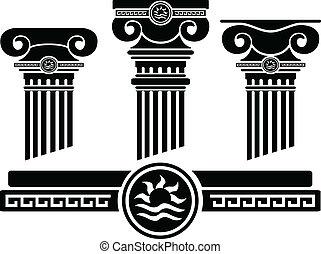 ionic, colunas, e, pattern., estêncil