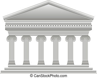 Ionic Greek temple on white background.
