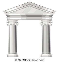 Ionic realistic antique greek temple with columns