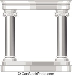 Ionic realistic antique greek temple with columns.