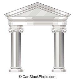 ionický, realistický, antický, řečtina, chrám, s, sloupec