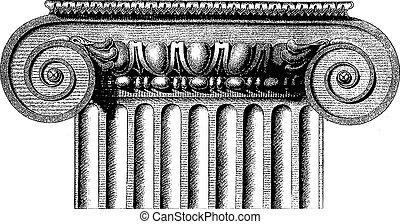 ionique, vecteur, colonne