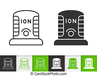 Ionizer simple black line vector icon - Ionizer black linear...