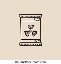ionizing, δραμάτιο , ακτινοβολία , σήμα , βαρέλι , icon.