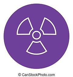 ionizing, linea, radiazione, icon., segno
