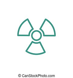 Ionizing radiation thin line icon in turquoise color
