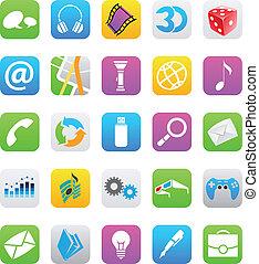 ios, 7, スタイル, モビール, app, アイコン, 隔離された, 白, 背景