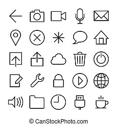 ios 7 icons set - Vector icons set in ios 7 style. EPS8