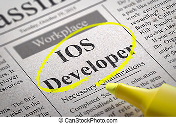 IOS Developer Vacancy in Newspaper. Job Seeking Concept.