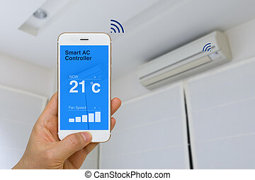 IOT Concept, Remotely Controlling Smart Air Conditioner with...