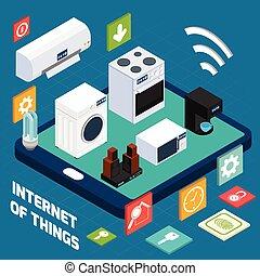 Iot concise household isometric concept icon - Ios household...