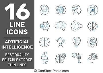 Iot, industry 4.0, artificial intelligence technology concept icons set. Smart factory, automotive manufacturing, AI, industrial internet of things IIOT related signs. Editable Stroke. EPS 10
