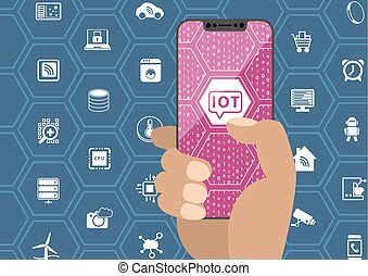 IOT / internet of things concept with hand holding bezel free smartphone. Symbols and frameless display as vector illustration.