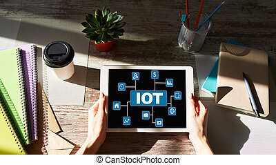 IOT - Internet of things technology concept on screen.